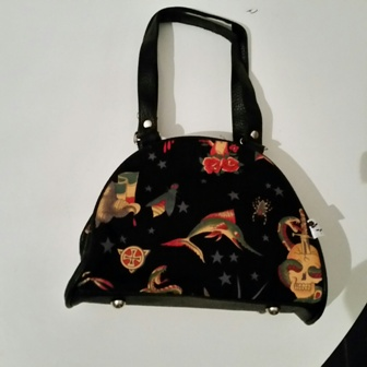 Handbag: Black Tattoo Mini Bowling Bag