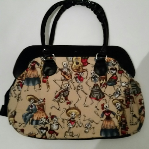 handbag: Dancing Skeletons yellow/beige